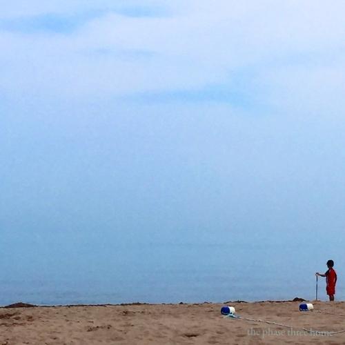 wilmette beach with child