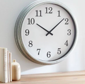 crate and barrel galvanized wall clock