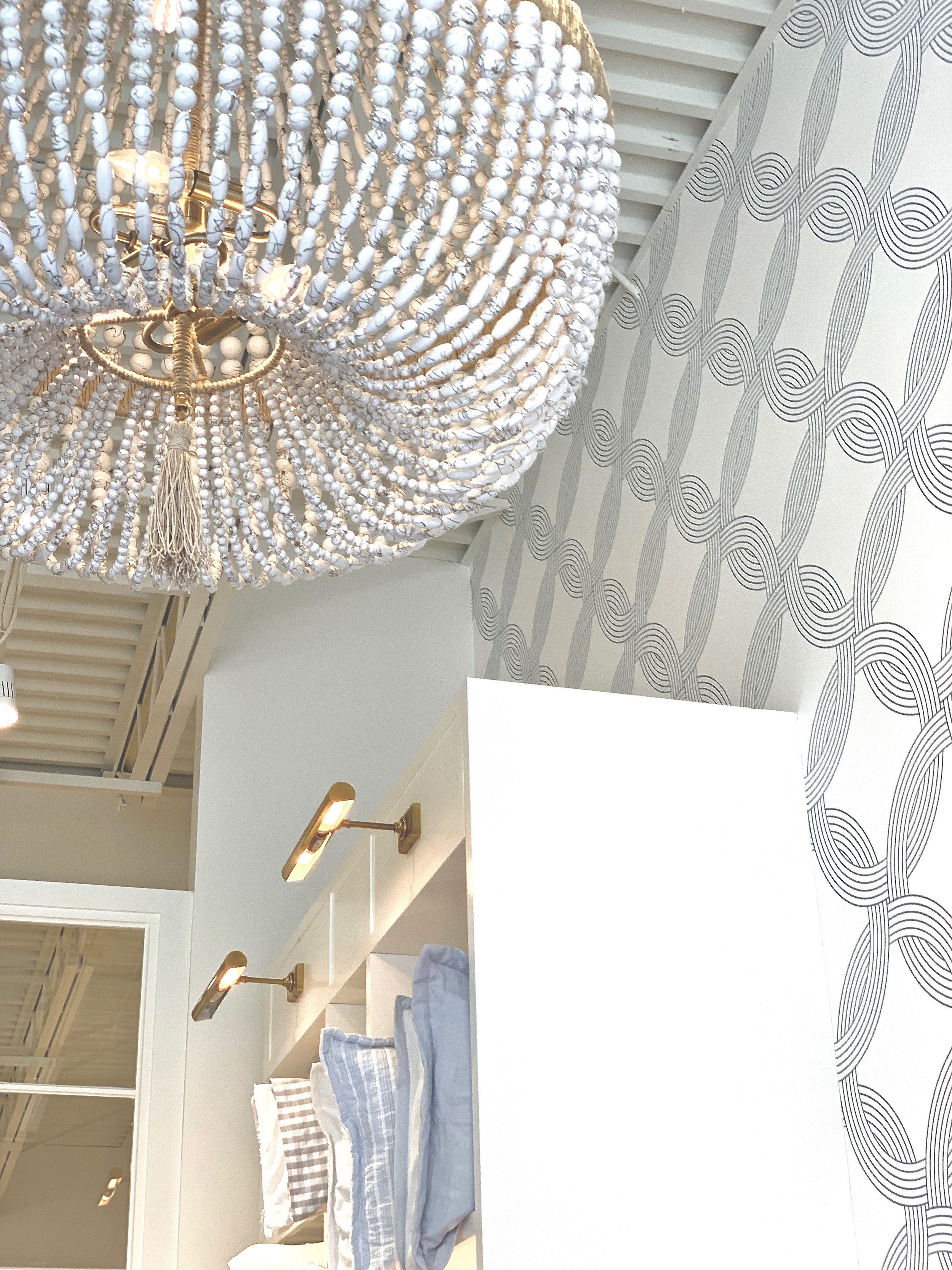 serena & lily beachy inspired chandelier and wallpaper, thephasethreehome.com.jpeg