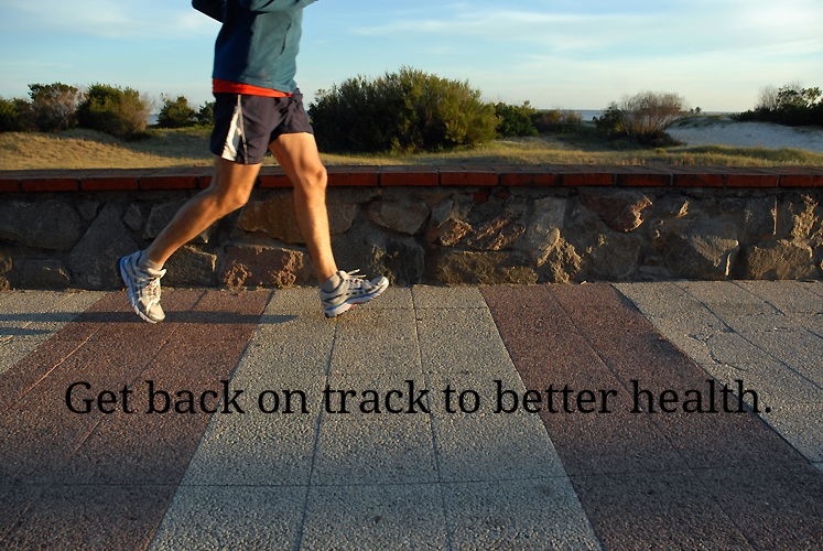 Get back on track to better health (A man jogs on the sidewalk).