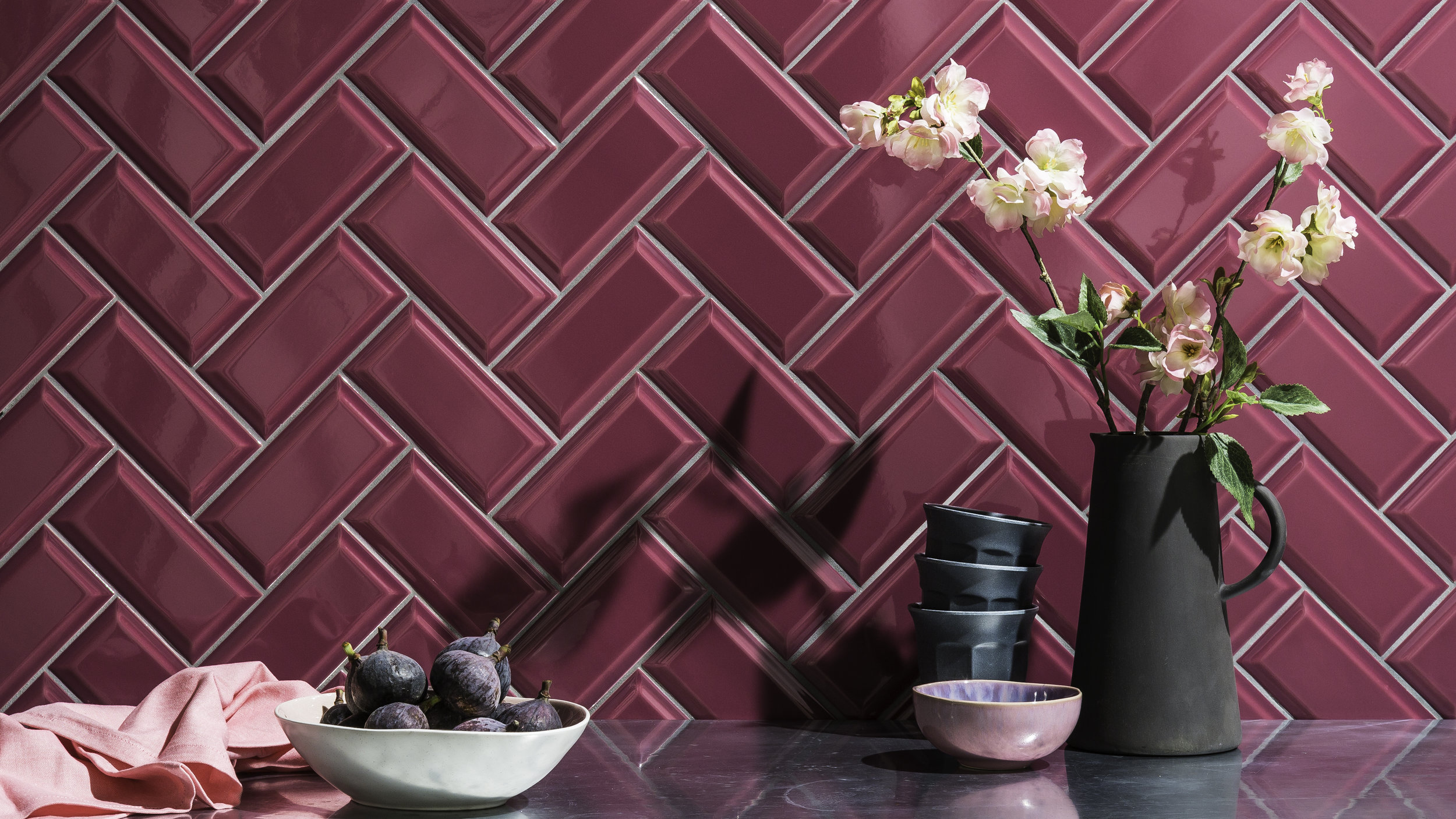 Bevel tiles in Raspberry from Johnson Tiles' Minton Hollins Collection