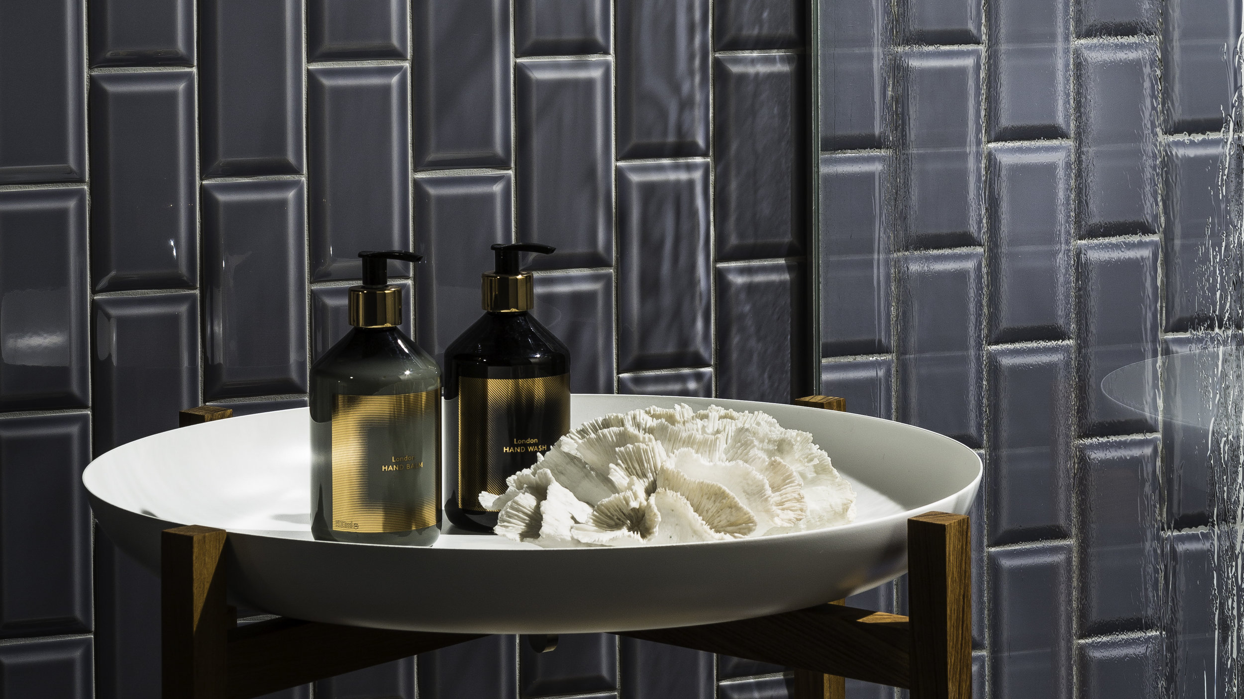 Bevel tile in Earl Grey from Johnson Tiles' Minton Hollins Collection