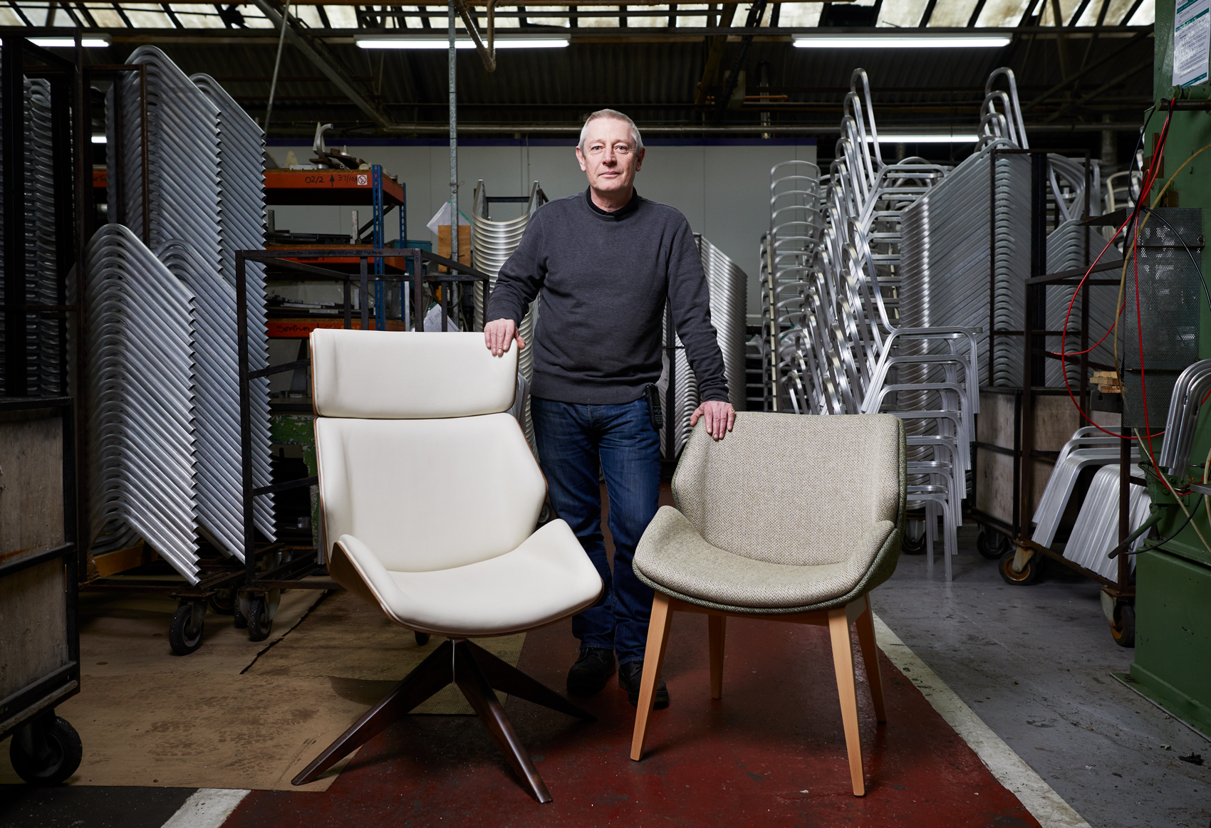 Kevin Walsh with the Walsh Chair by Burgess Furniture © Photography by Anderson