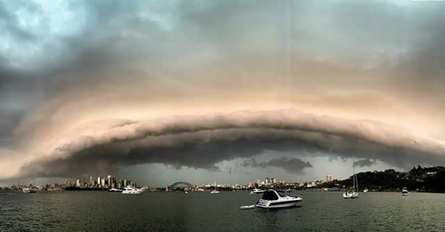 Epic view from Sydney Harbour as a Sunset storm rolls through. 🙌 Better than fireworks! . . #sydney #sydneyweather #sydneystorm #cloudporn #storm #boating #sydneyharbour
