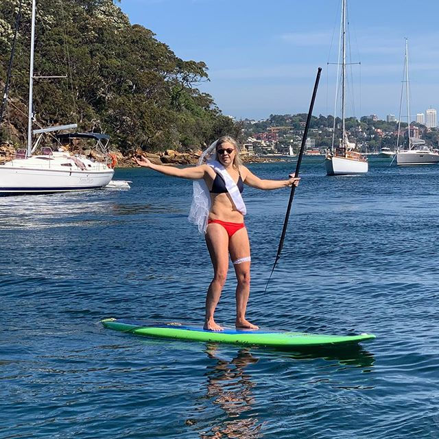 Runaway Bride 😳 Our HEN having a ball on the Barefoot SUP 🤘