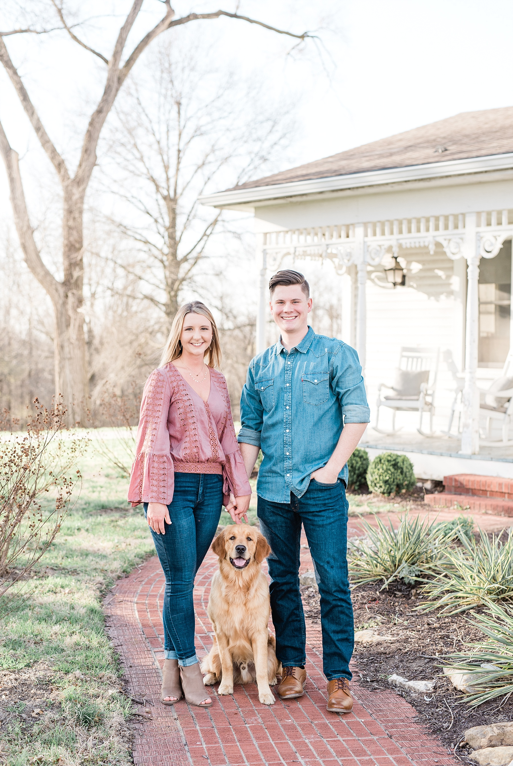 Spring Sunset Engagement Session with High School Sweethearts and Golden Retriever Puppy at Blue Bell Farm Fayette Missouri by Kelsi Kliethermes Photography_0005.jpg