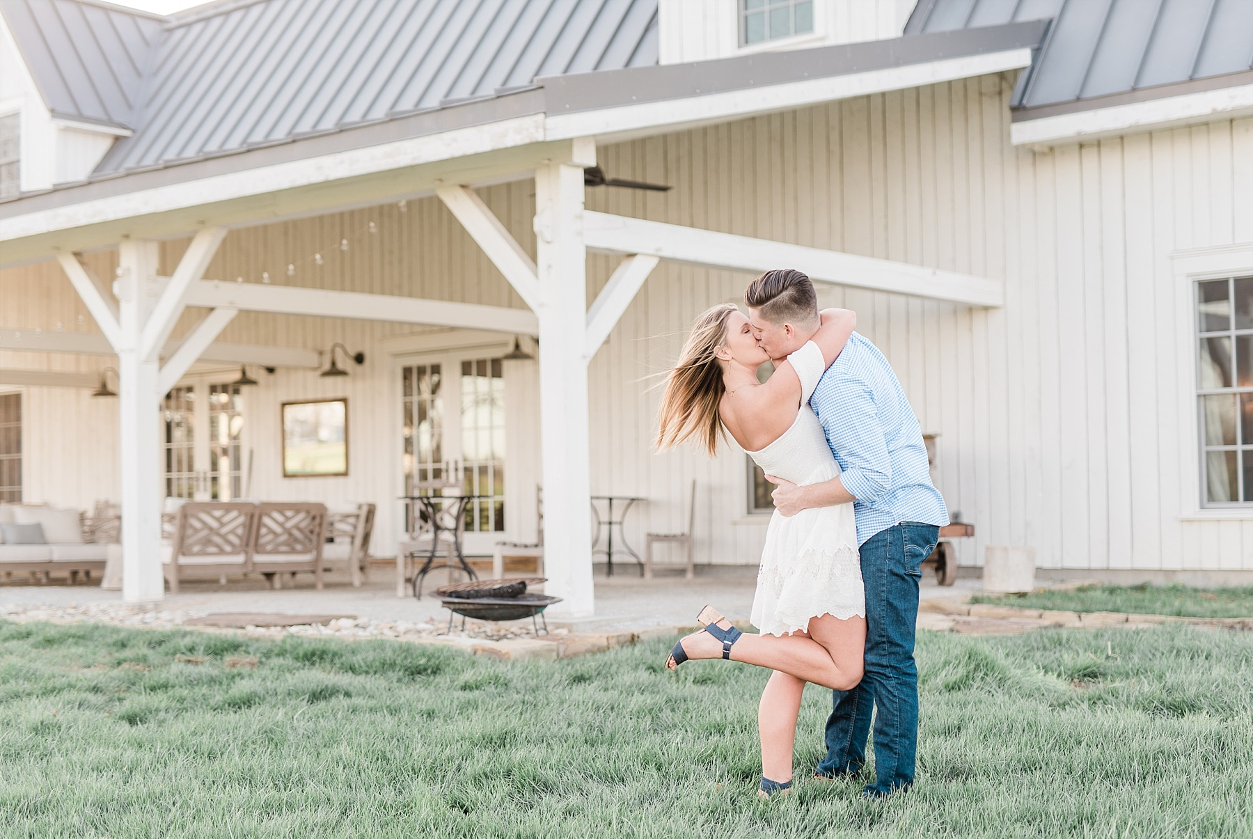 Spring Sunset Engagement Session with High School Sweethearts and Golden Retriever Puppy at Blue Bell Farm Fayette Missouri by Kelsi Kliethermes Photography_0015.jpg