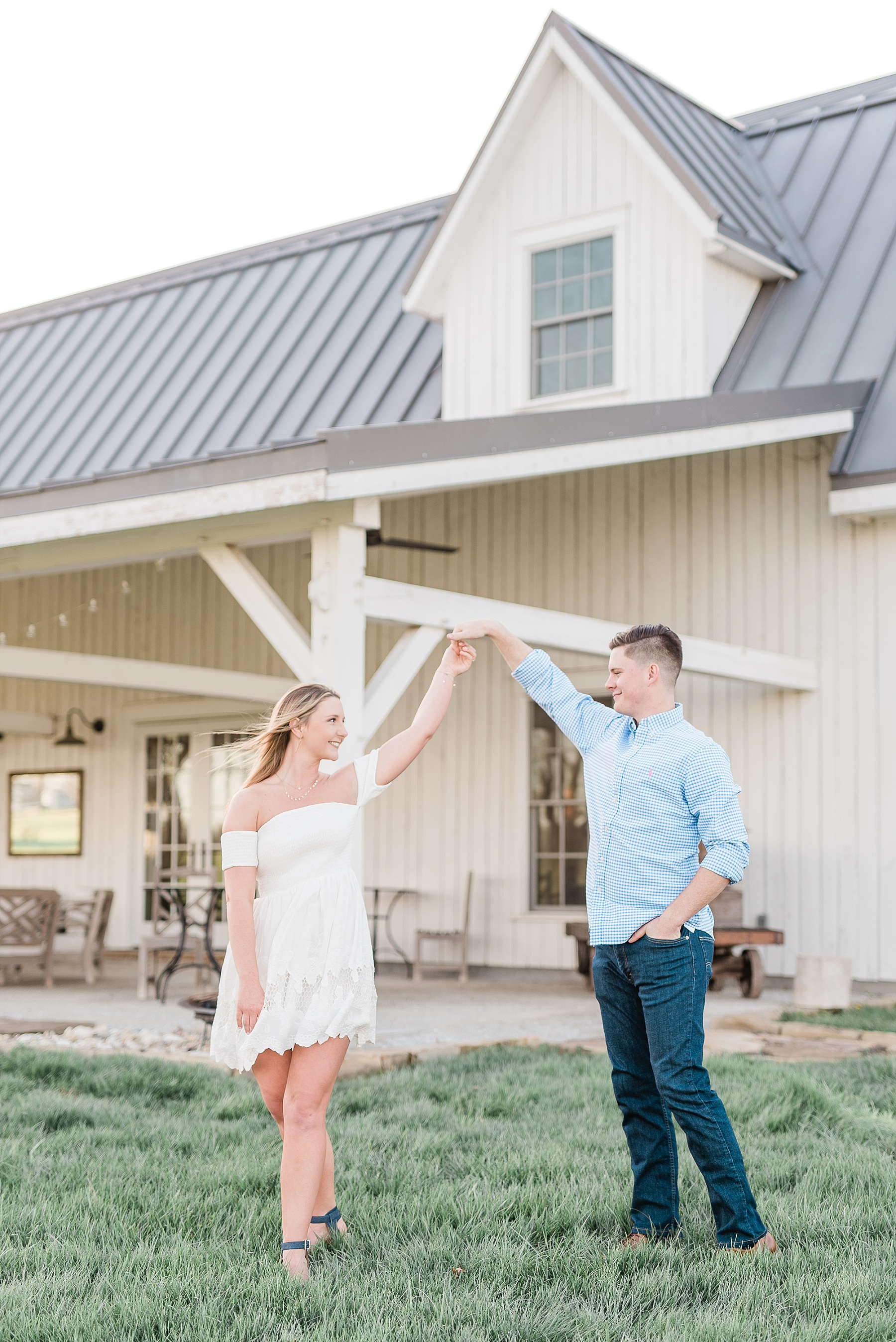 Spring Sunset Engagement Session with High School Sweethearts and Golden Retriever Puppy at Blue Bell Farm Fayette Missouri by Kelsi Kliethermes Photography_0014.jpg