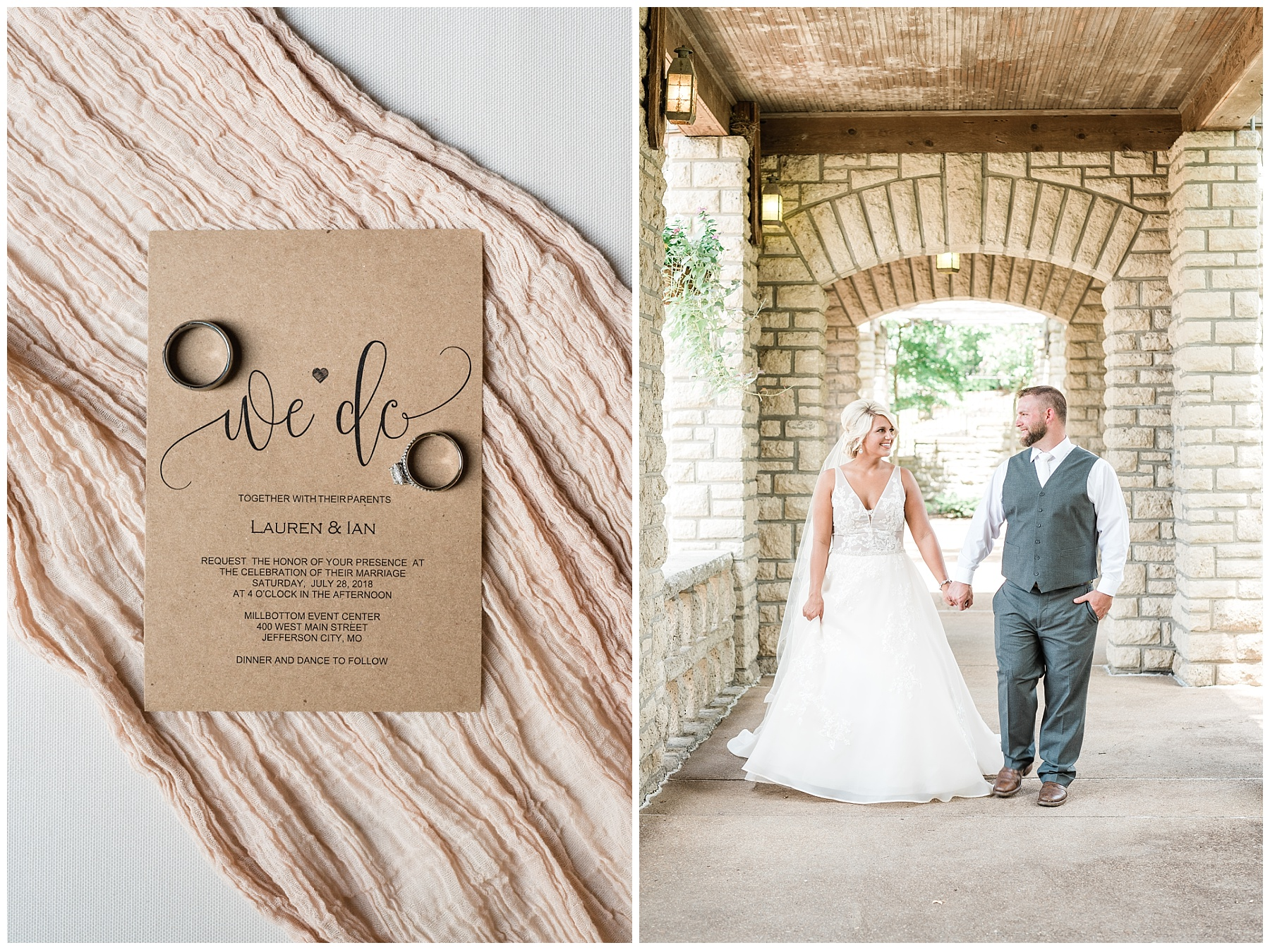 Rose Gold, White, and Greenery High Class Summer Wedding at The Millbottom in Downtown Jefferson City by Kelsi Kliethermes Photography_0001.jpg