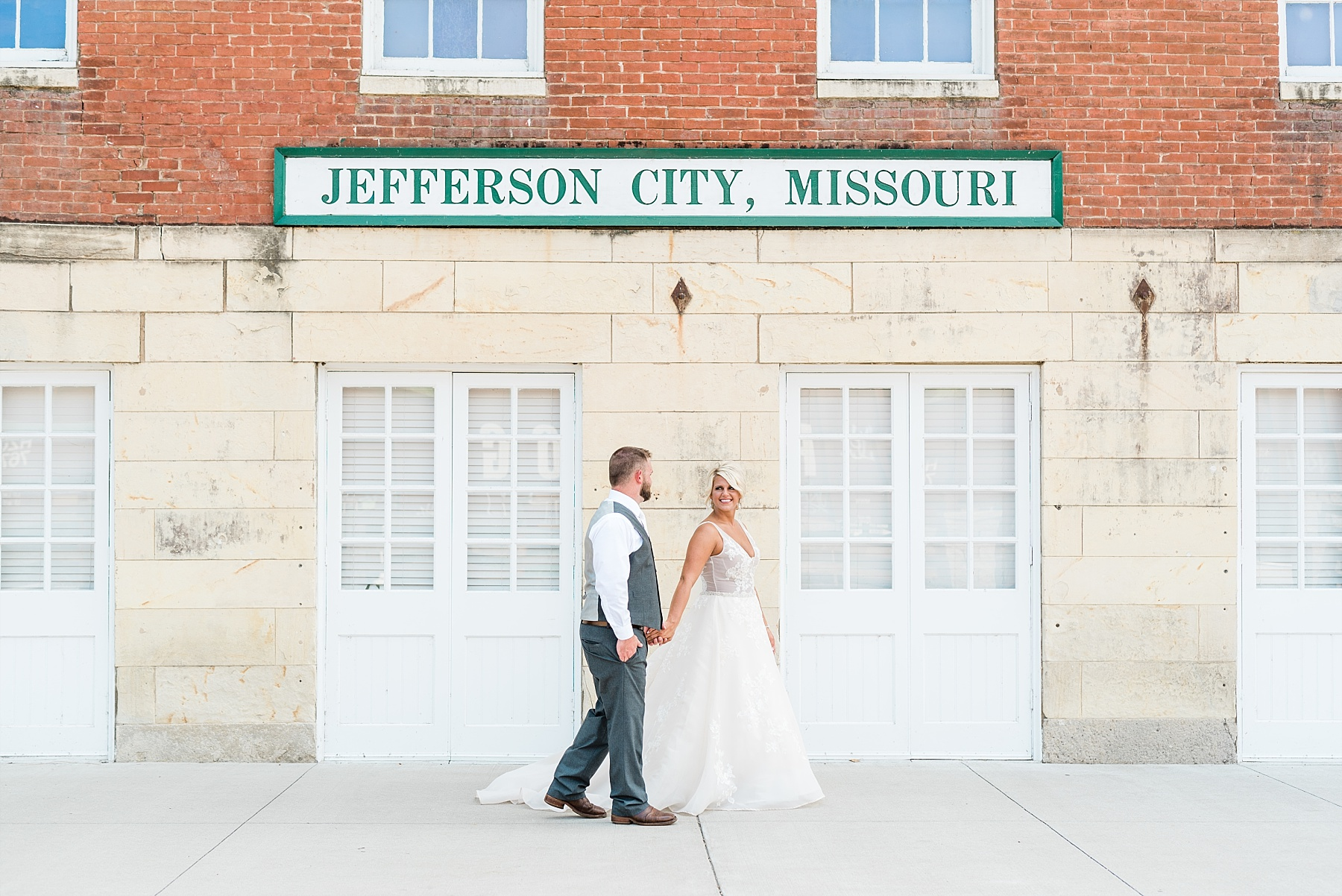 Rose Gold, White, and Greenery High Class Summer Wedding at The Millbottom in Downtown Jefferson City by Kelsi Kliethermes Photography_0035.jpg