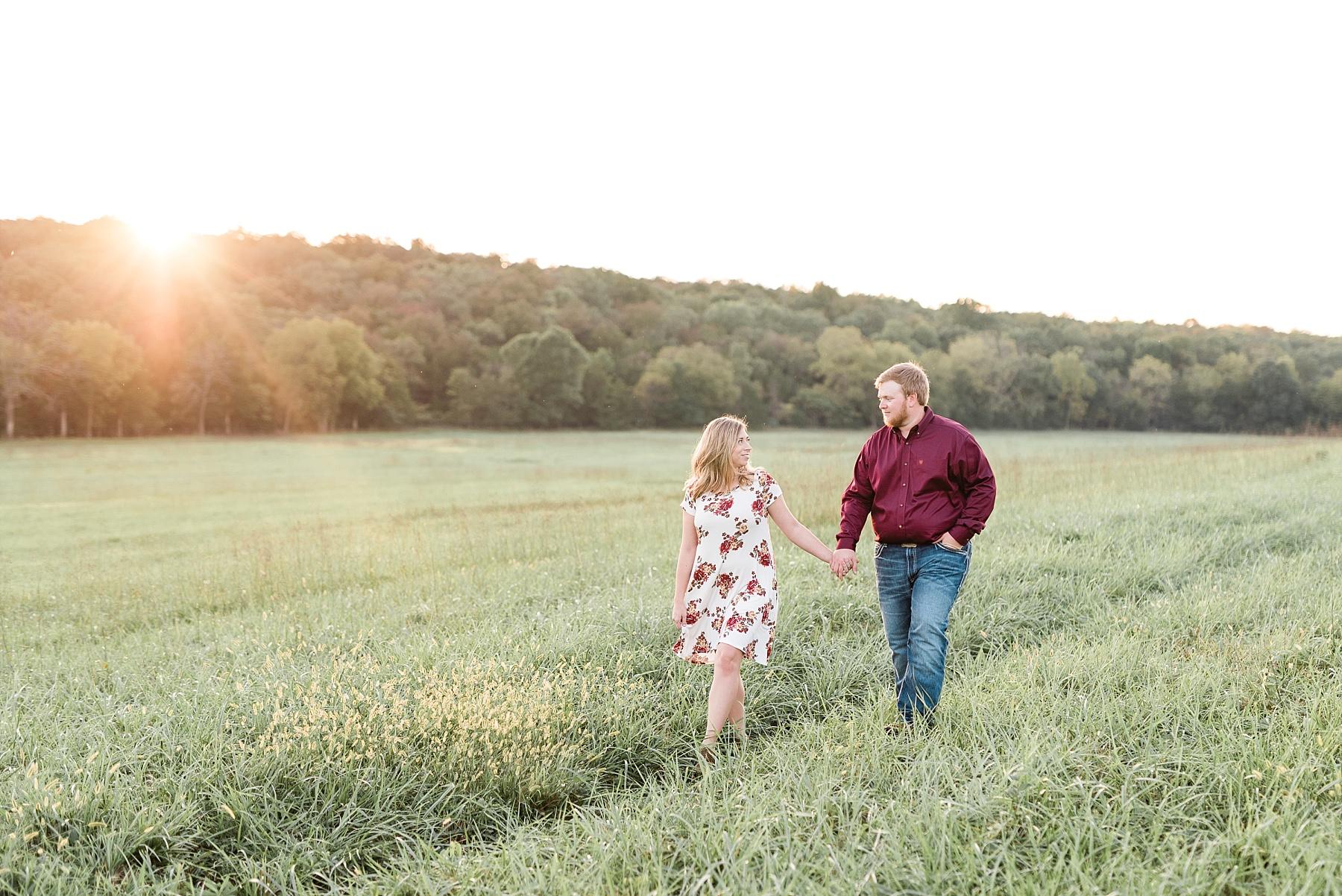 Autumn Golden Sunset Engagement Session on Farm in Missouri by Kelsi Kliethermes Photography_0003.jpg