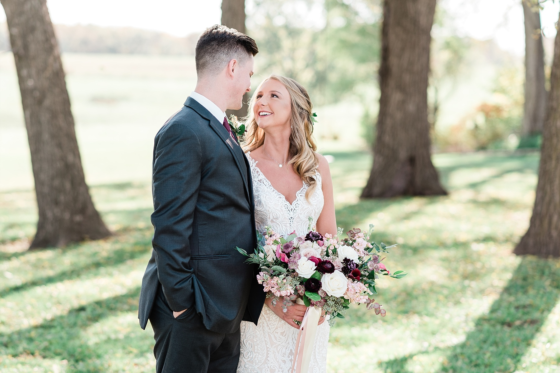 Golden Autumn Outdoor Wedding with Ivory, Bergundy, and Blush Color Palette at Blue Bell Farms  by Kelsi Kliethermes Photography_0011.jpg