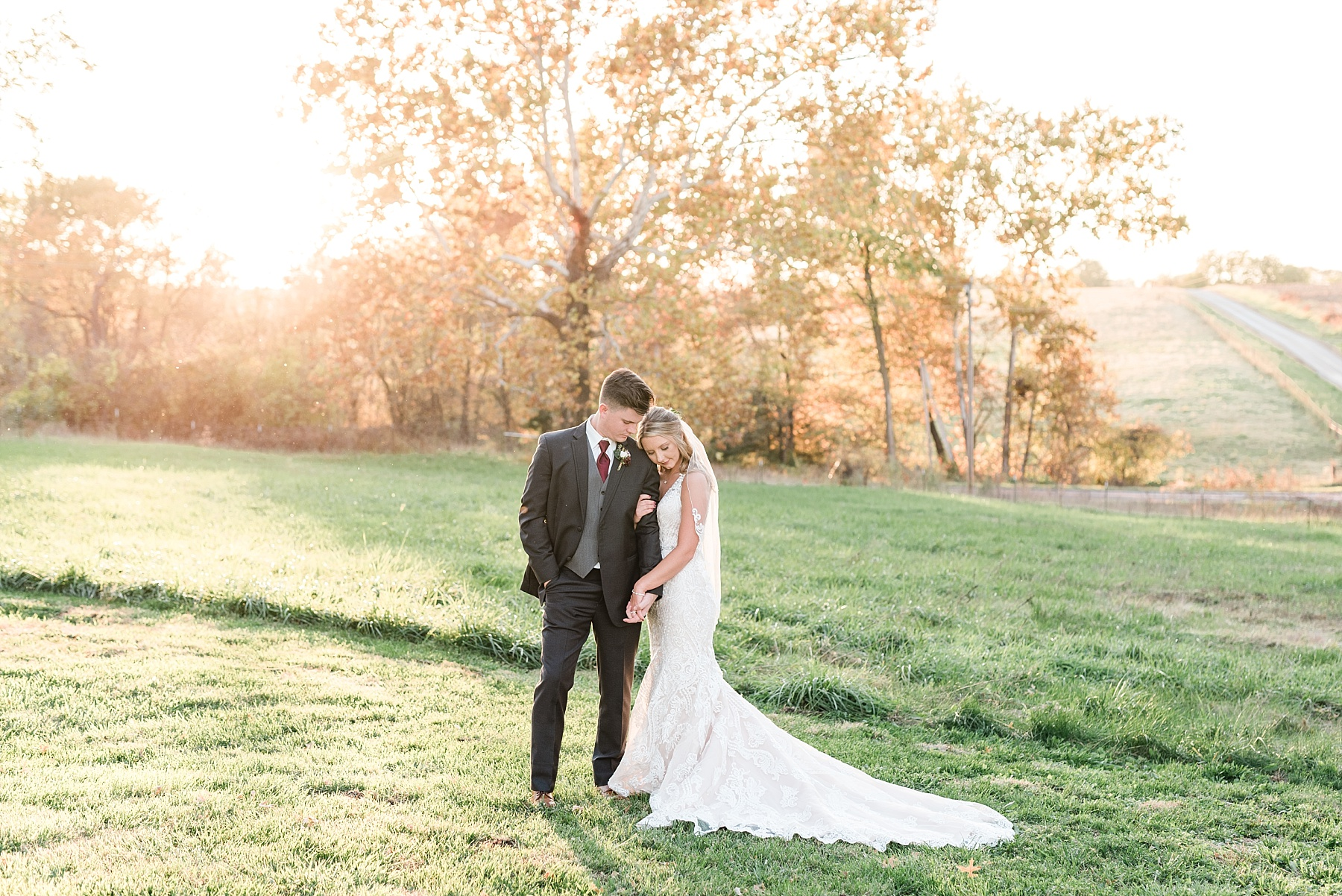 Golden Autumn Outdoor Wedding with Ivory, Bergundy, and Blush Color Palette at Blue Bell Farms  by Kelsi Kliethermes Photography_0036.jpg
