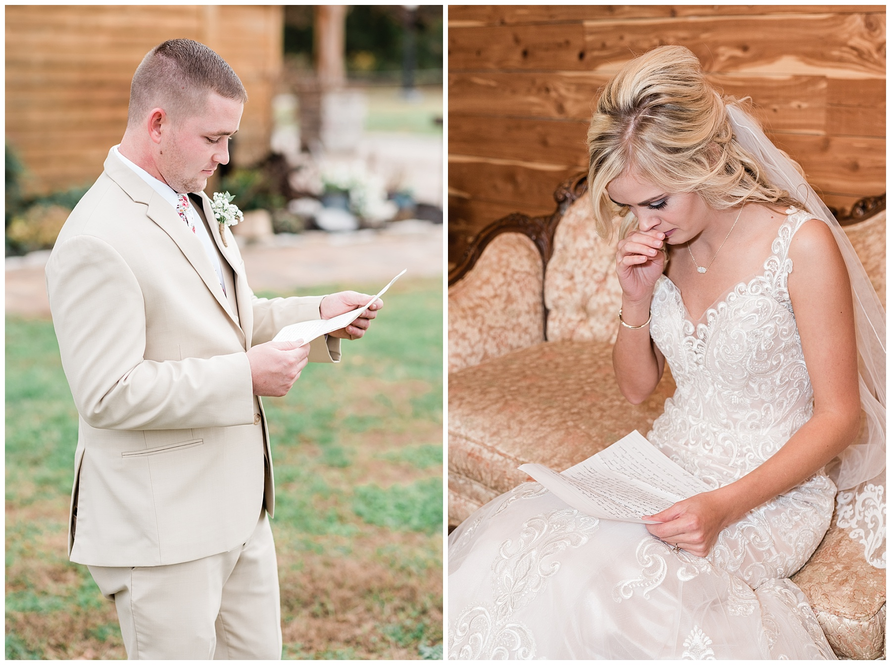 bride and groom reading letters before wedding at mighty oak lodge missouri