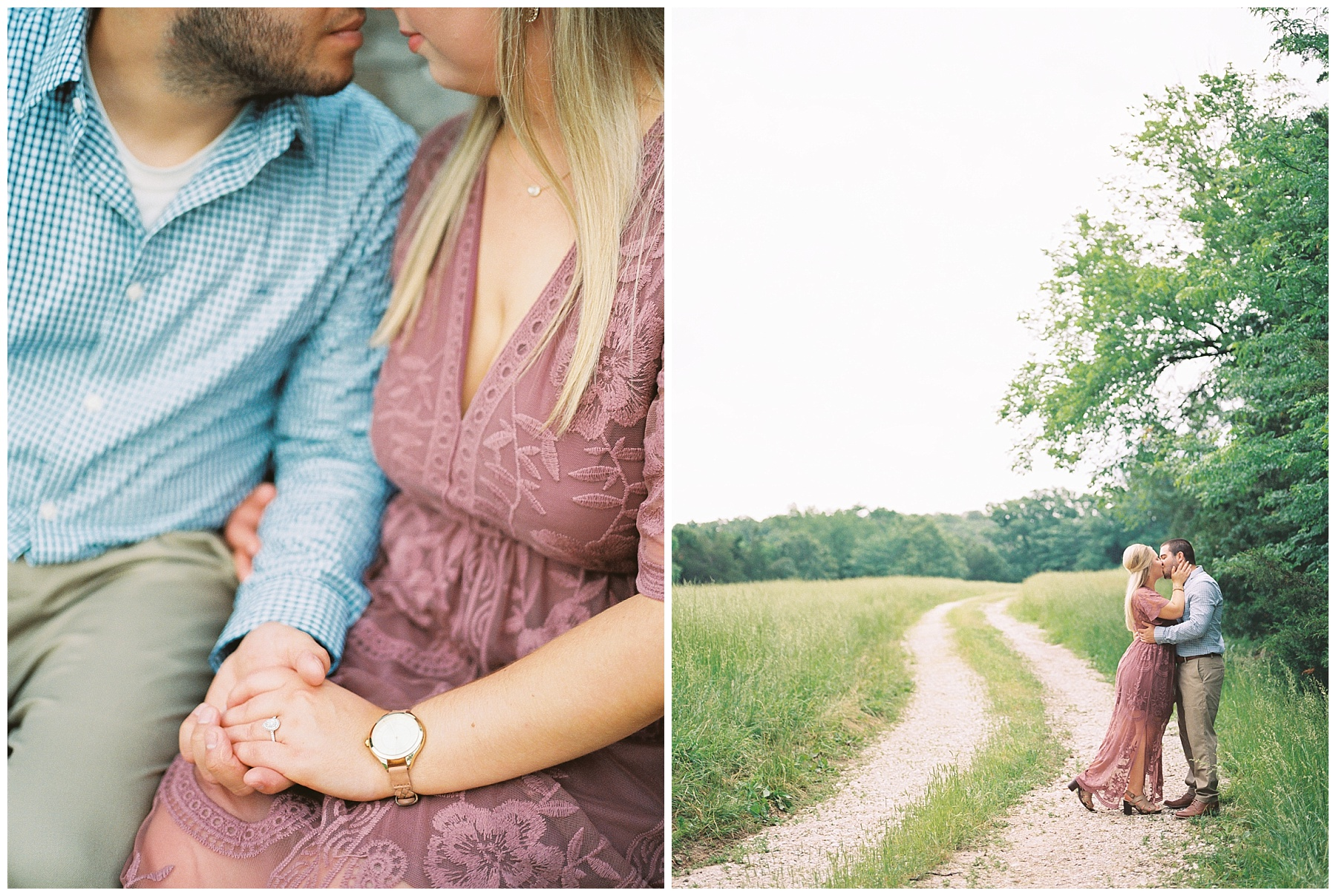 Dusty Rose and Deep Green Rolling Hills Engagement Session by Kelsi Kliethermes Photography Best Missouri and Maui Wedding Photographer_0011.jpg