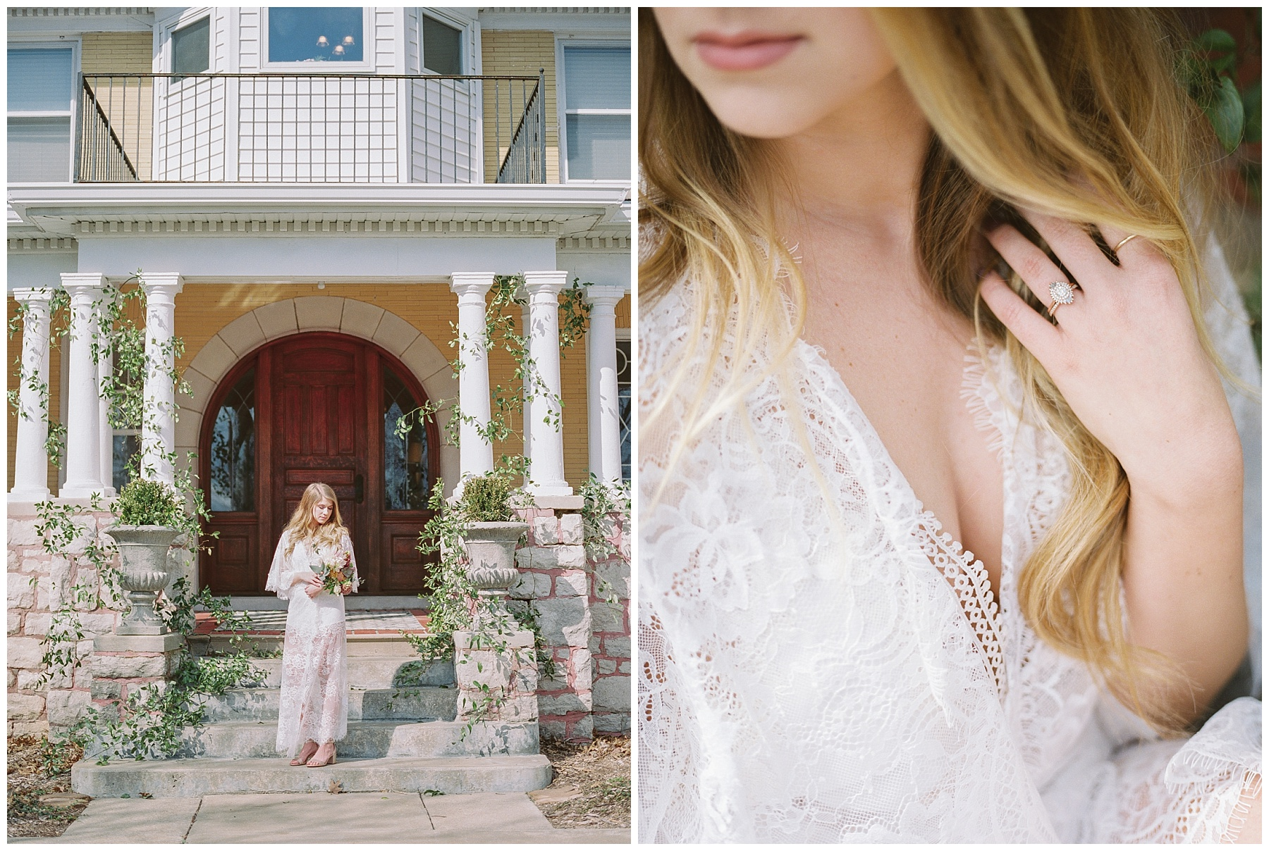 Natural, Intimate, and Organic Bridal Session on Steps of Century Old Bed and Breakfast by Kelsi Kliethermes Photography Best Missouri and Maui Wedding Photographer_0002.jpg
