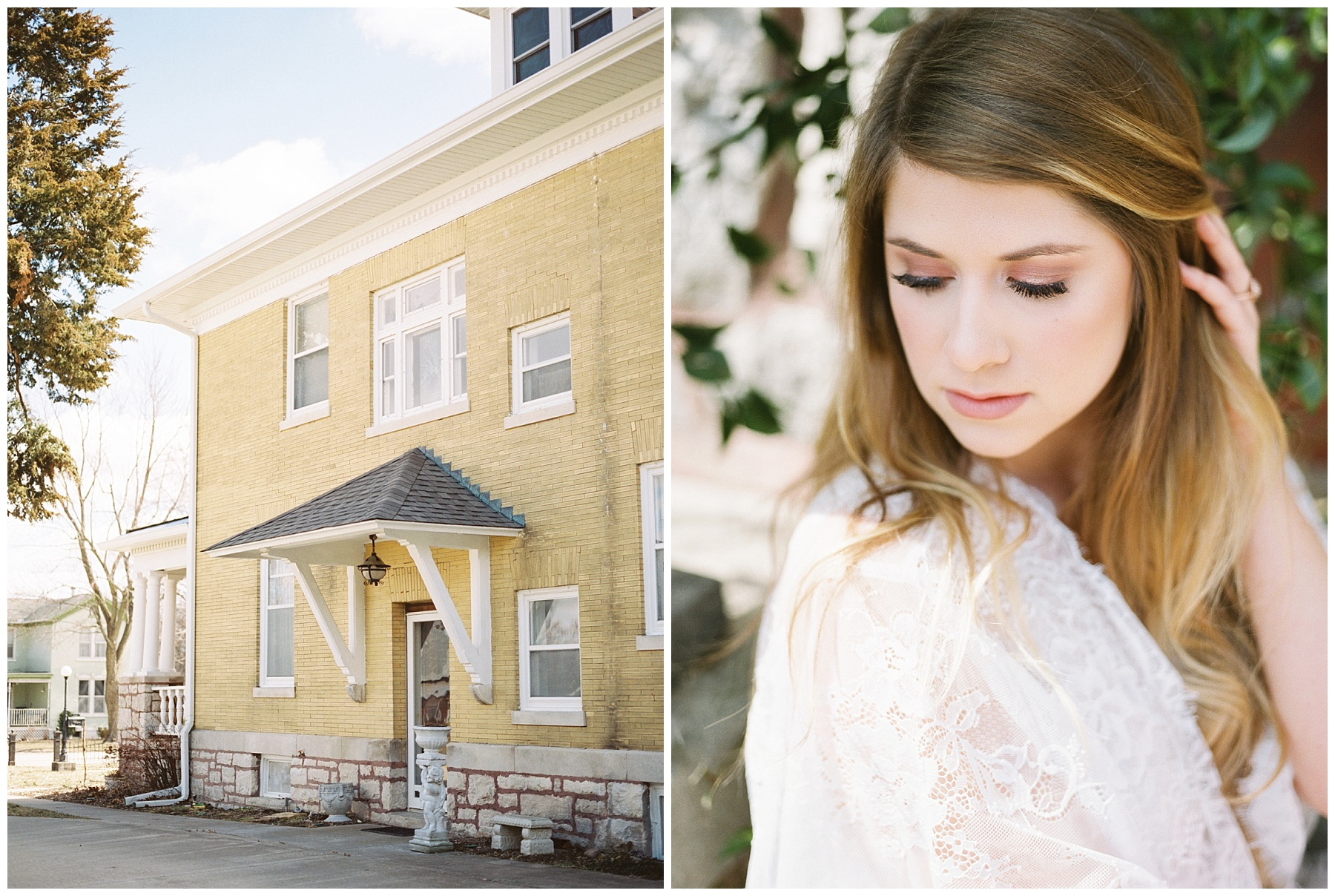Natural, Intimate, and Organic Bridal Session on Steps of Century Old Bed and Breakfast by Kelsi Kliethermes Photography Best Missouri and Maui Wedding Photographer_0003.jpg