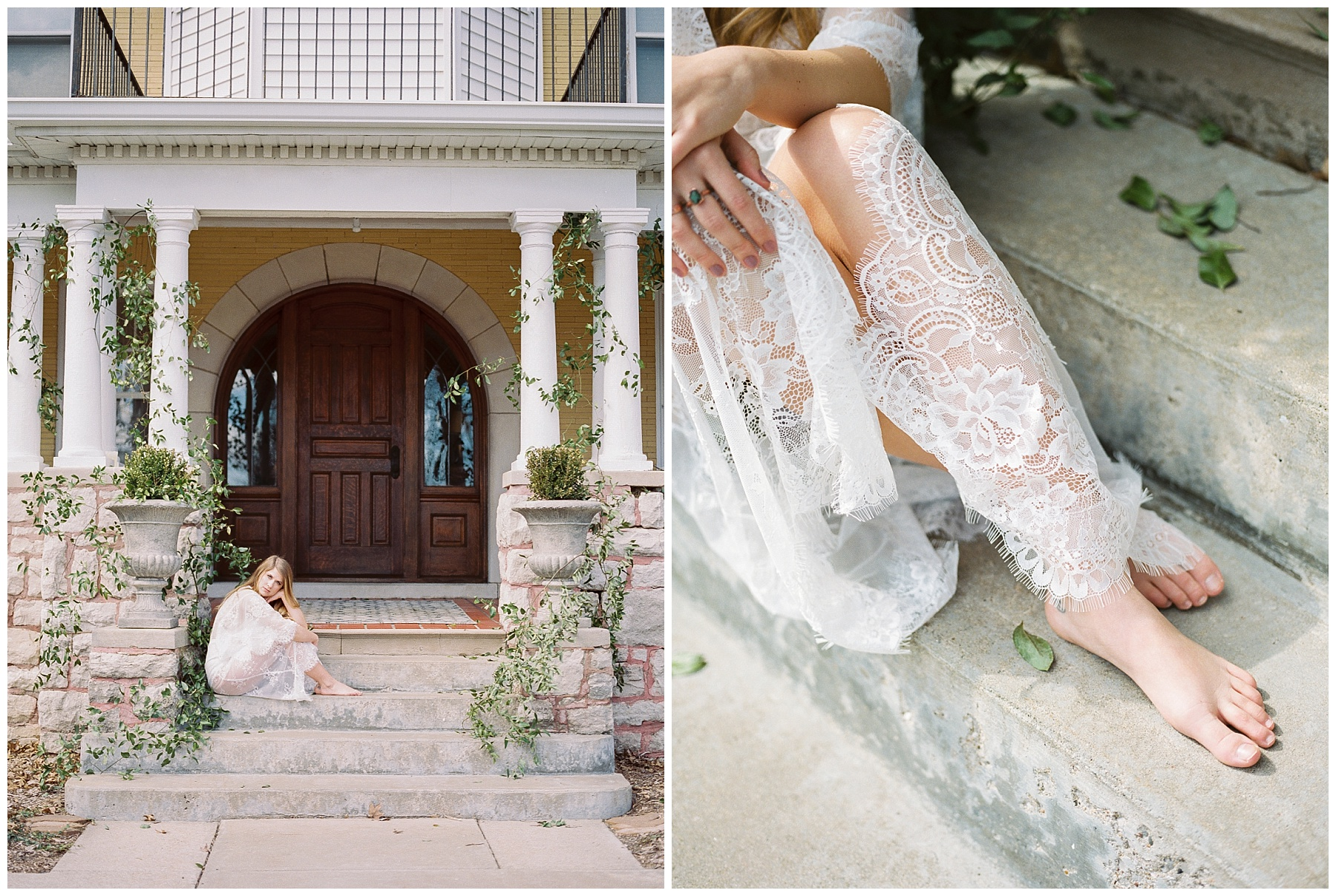 Natural, Intimate, and Organic Bridal Session on Steps of Century Old Bed and Breakfast by Kelsi Kliethermes Photography Best Missouri and Maui Wedding Photographer_0004.jpg