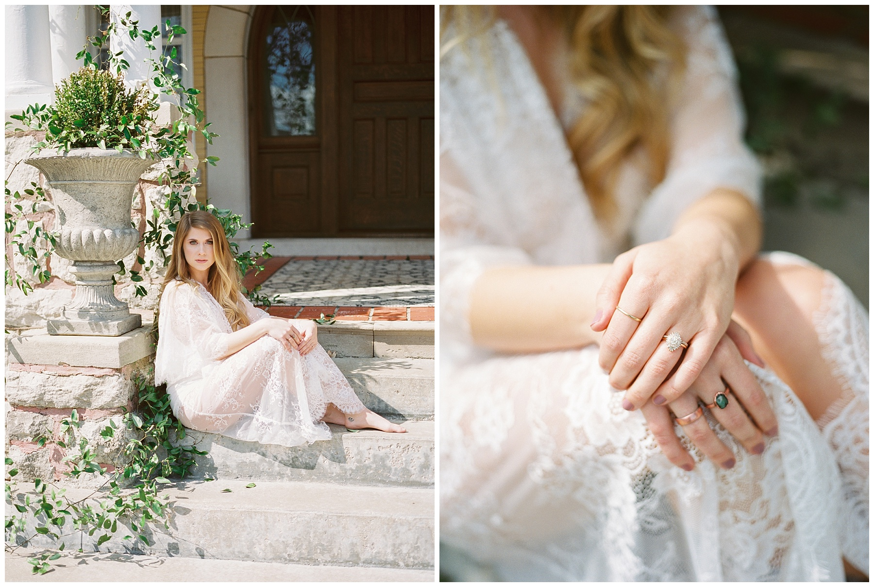 Natural, Intimate, and Organic Bridal Session on Steps of Century Old Bed and Breakfast by Kelsi Kliethermes Photography Best Missouri and Maui Wedding Photographer_0005.jpg
