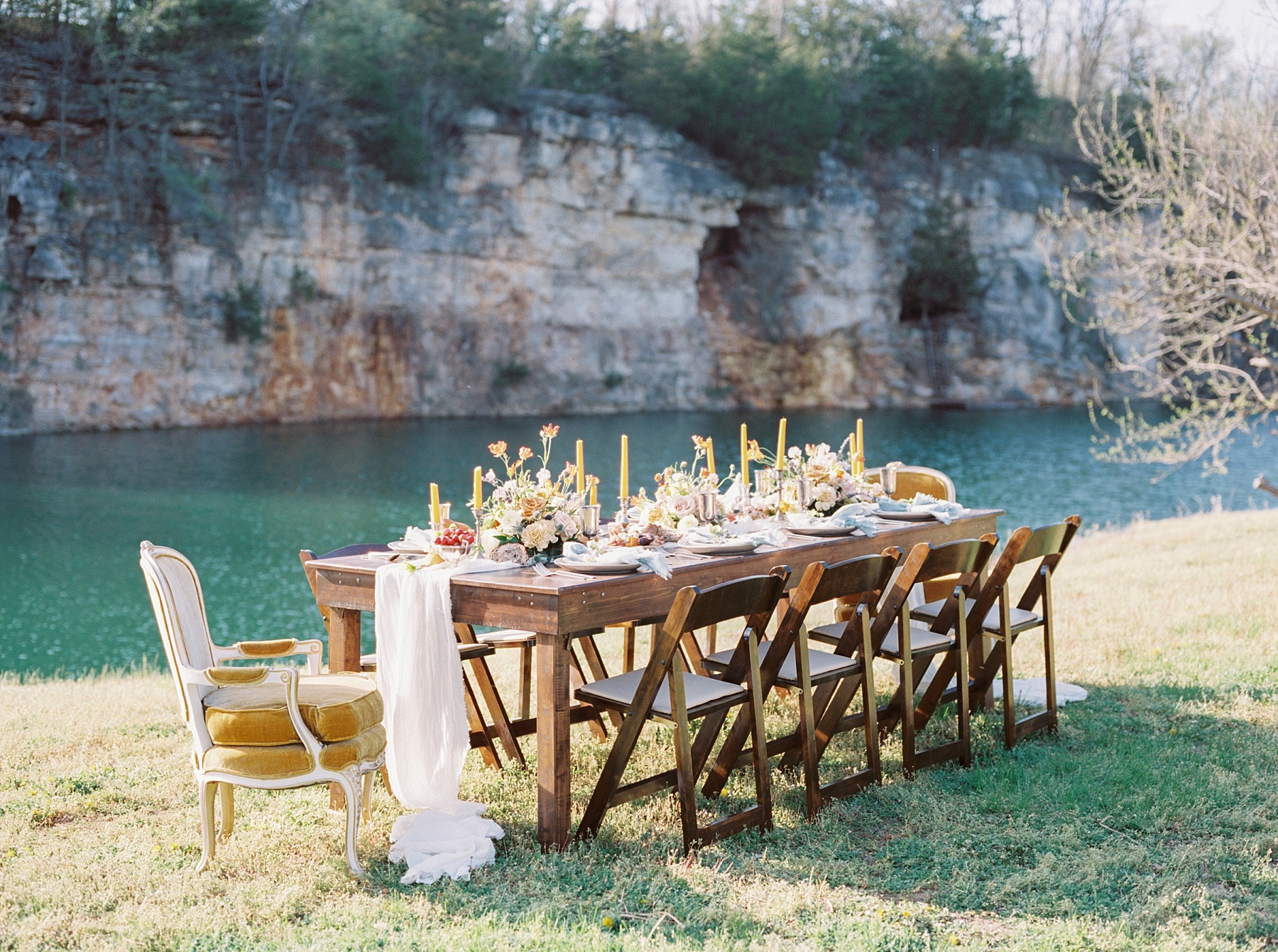 Intimate Spanish and French Inspired Destination Wedding with Lakeside Dinner Party at Dusk at Wildcliff by Kelsi Kliethermes Photography Best Missouri and Maui Wedding Photographer_0009.jpg