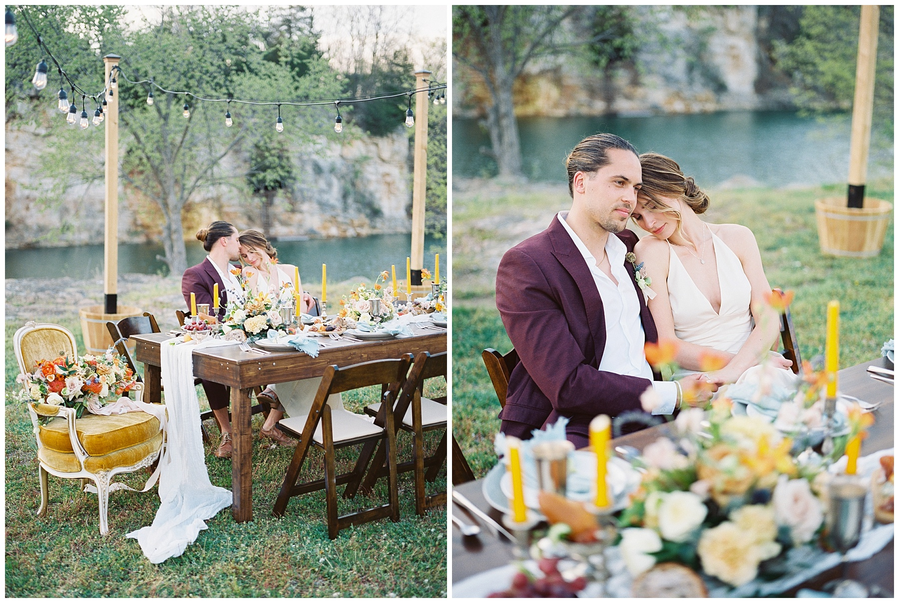 Intimate Spanish and French Inspired Destination Wedding with Lakeside Dinner Party at Dusk at Wildcliff by Kelsi Kliethermes Photography Best Missouri and Maui Wedding Photographer_0041.jpg