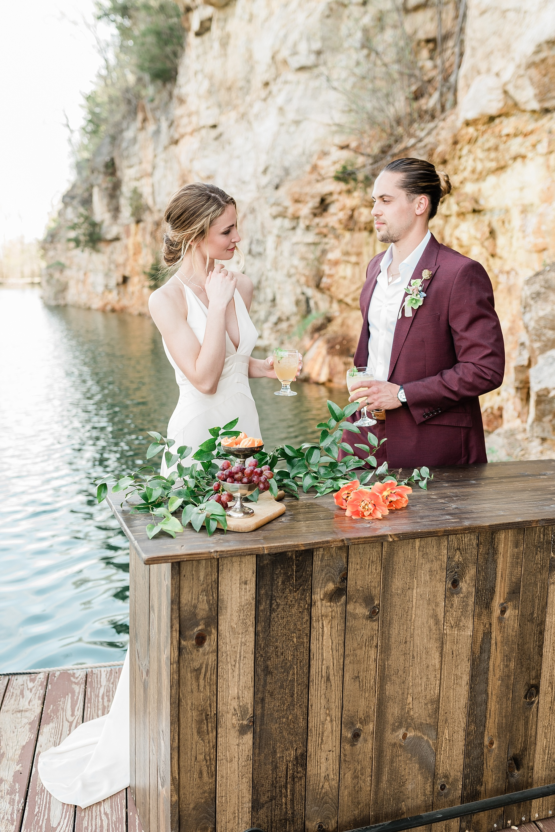 Intimate Spanish and French Inspired Destination Wedding with Lakeside Dinner Party at Dusk at Wildcliff by Kelsi Kliethermes Photography Best Missouri and Maui Wedding Photographer_0059.jpg