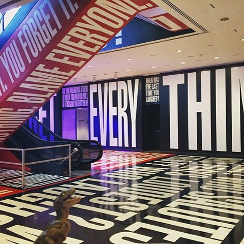 Barbara Kruger,  Belief+Doubt . Installed in the Hirshorn's lower level.