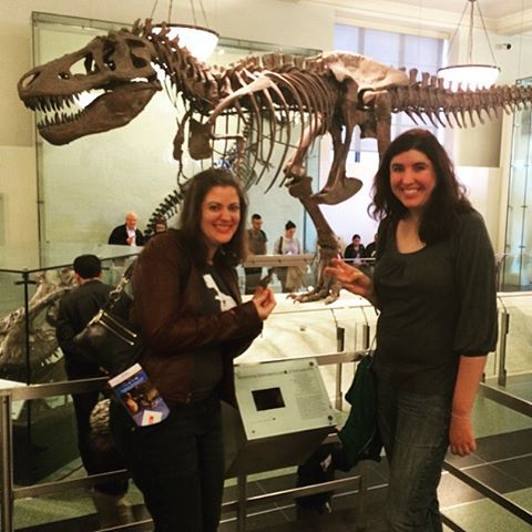 All of us – me, my friend Laura, and Tim – are very excited about the dinosaurs, both large and small.