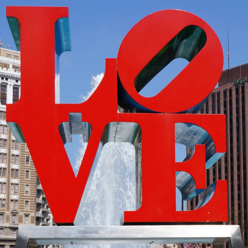 Robert Indiana,  LOVE . (1977) Current location: John F. Kennedy Plaza (Love Park) in Philadelphia. Photo courtesy of Philadelphia Public Art.
