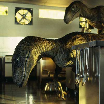 This is also not a velociraptor, according to science. (Courtesy Universal Pictures.)