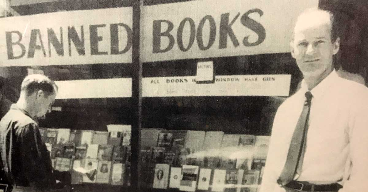Lawrence Ferlinghetti in front of City Lights Books, 1957. Image courtesy of the Beat Museum.