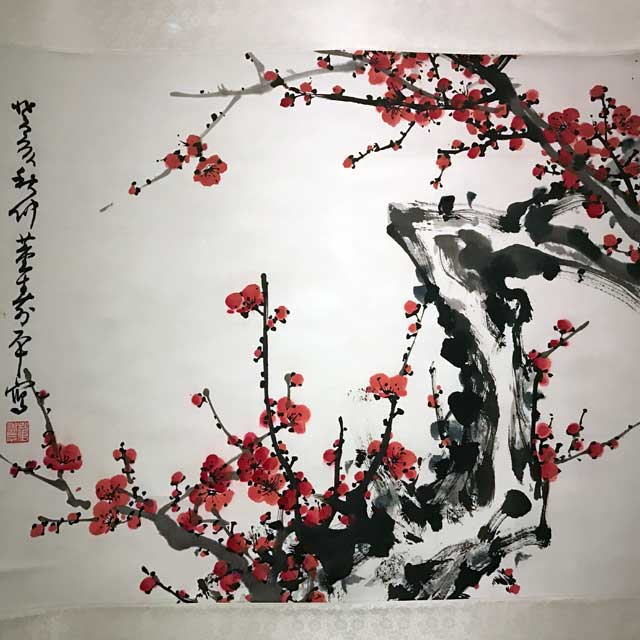 Dong Shouping,  Red plum blossoms , Chinese, 1983.