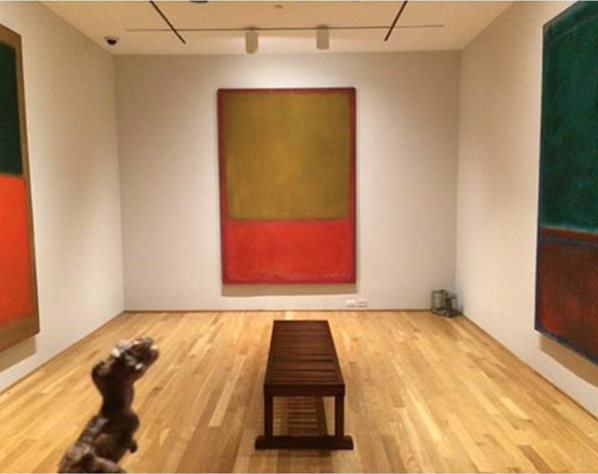 The  Rothko Room  at the Phillips Collection, featuring  Green and Tangerine on Red  (1956),  Ochre and Red on Red  (1954), and  Green and Maroon  (1953). Not pictured:  Orange and Red on Red  (1957).