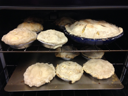 apple pies in oven