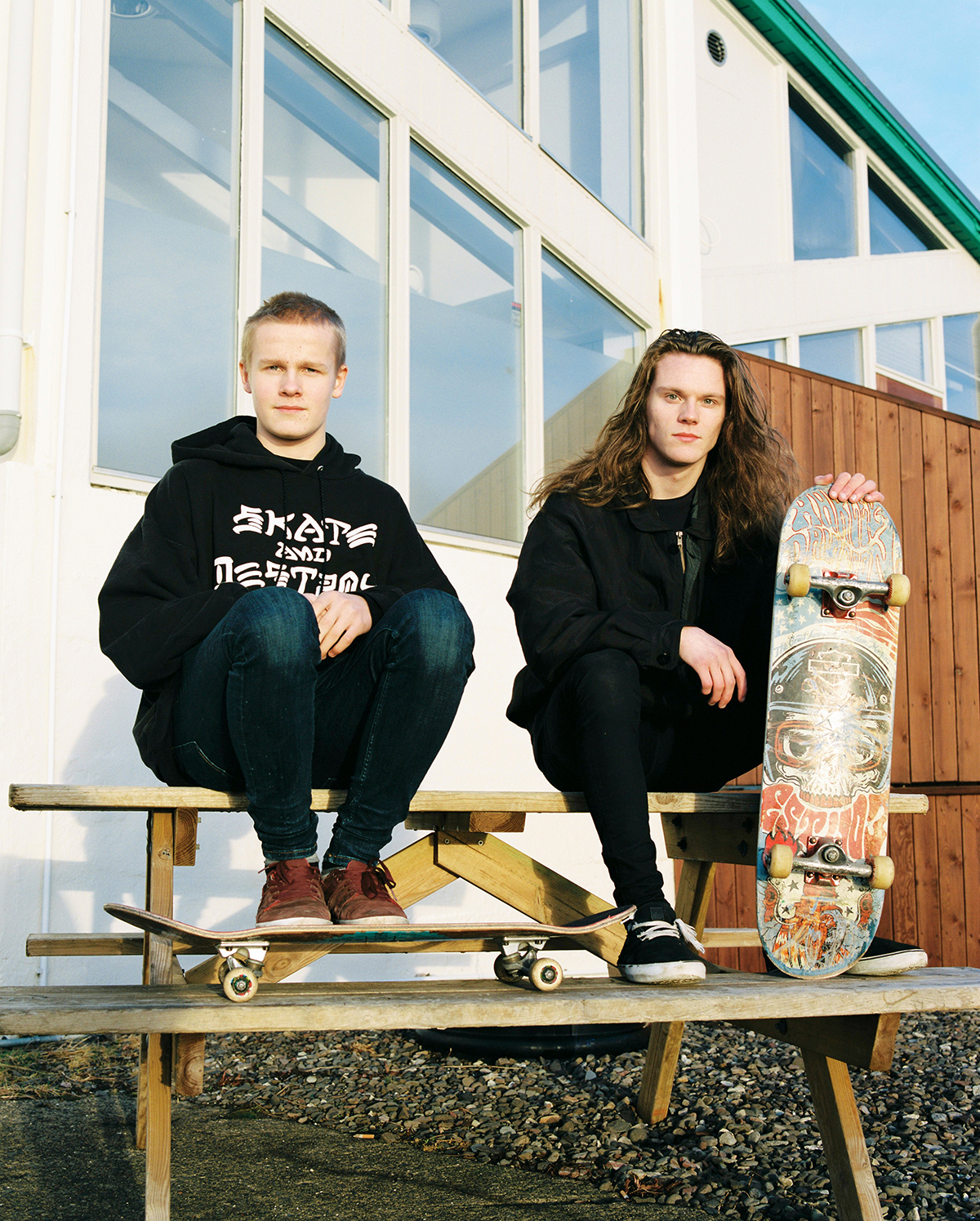 "I met Stefán and Bjartur in Neskaupstaður when I saw them skateboarding outside of the gas station. ""There aren't many people who skateboard here, so we got into it to make things happen for ourselves,"" they said. They both work on pushing their limit to land new tricks."