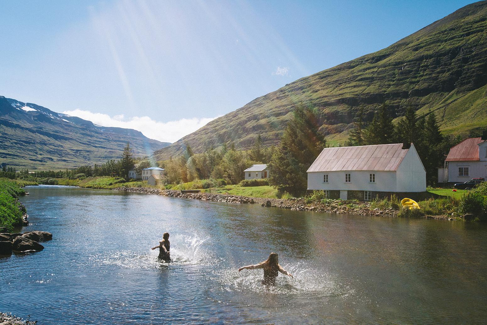 Swimming in Seyðisfjörður