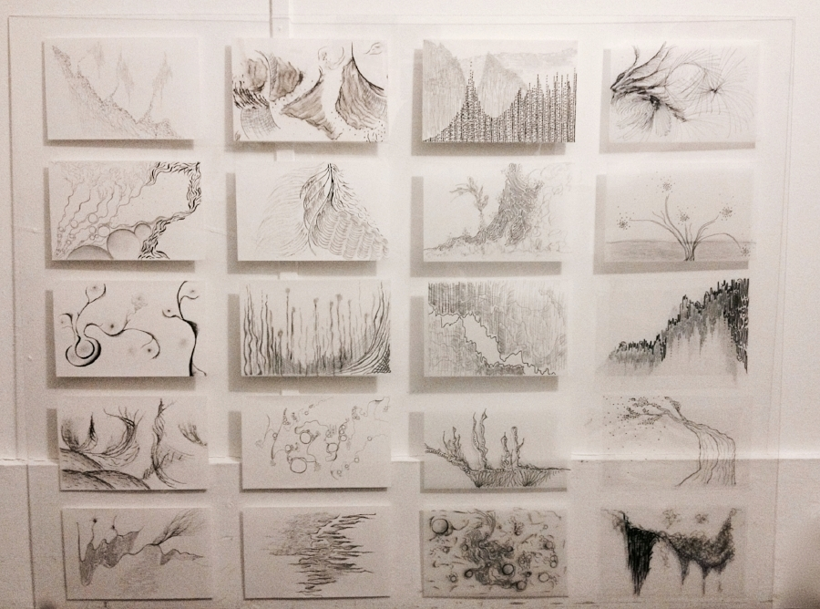 Ink and pencil panels on paper, mylar, transparencies mounted on plexiglass