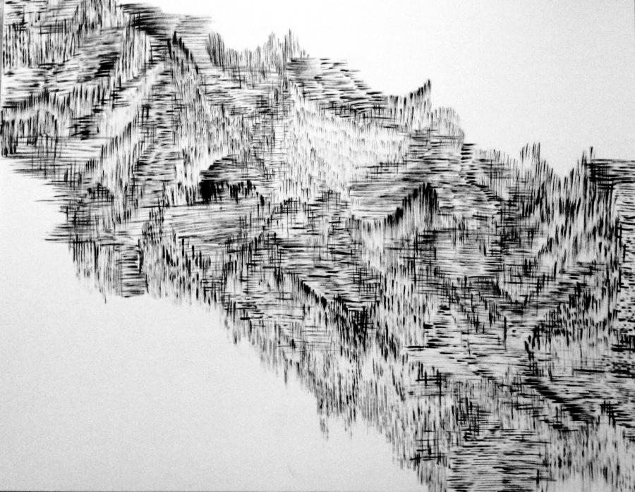 """""""Escape–Landscape"""",ink on paper, 9"""" X 12"""""""