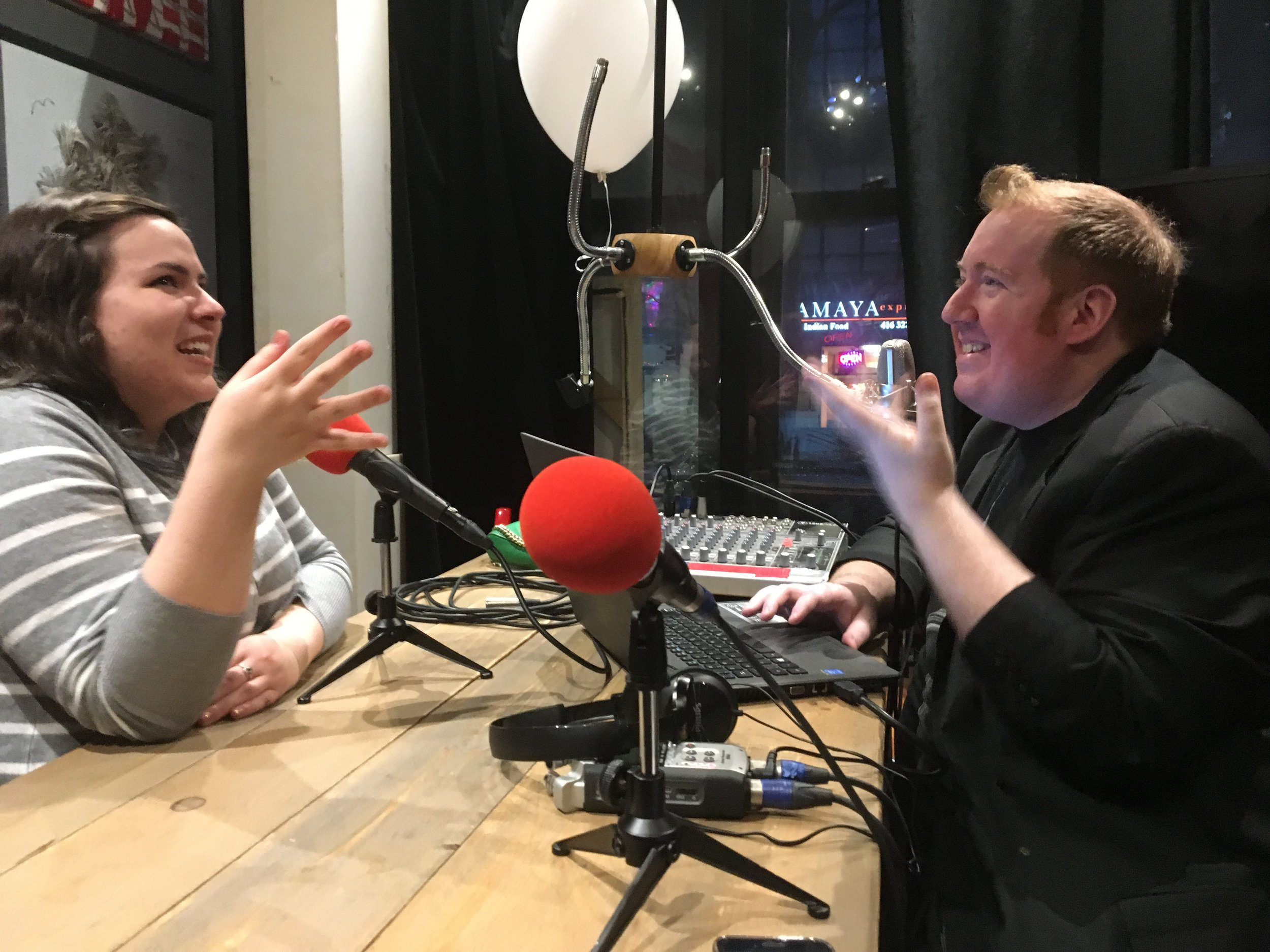 Host Dan Speerin chats with Megan MacKay in the Girth Radio Studios at the Pacific Junction Hotel in downtown Toronto.