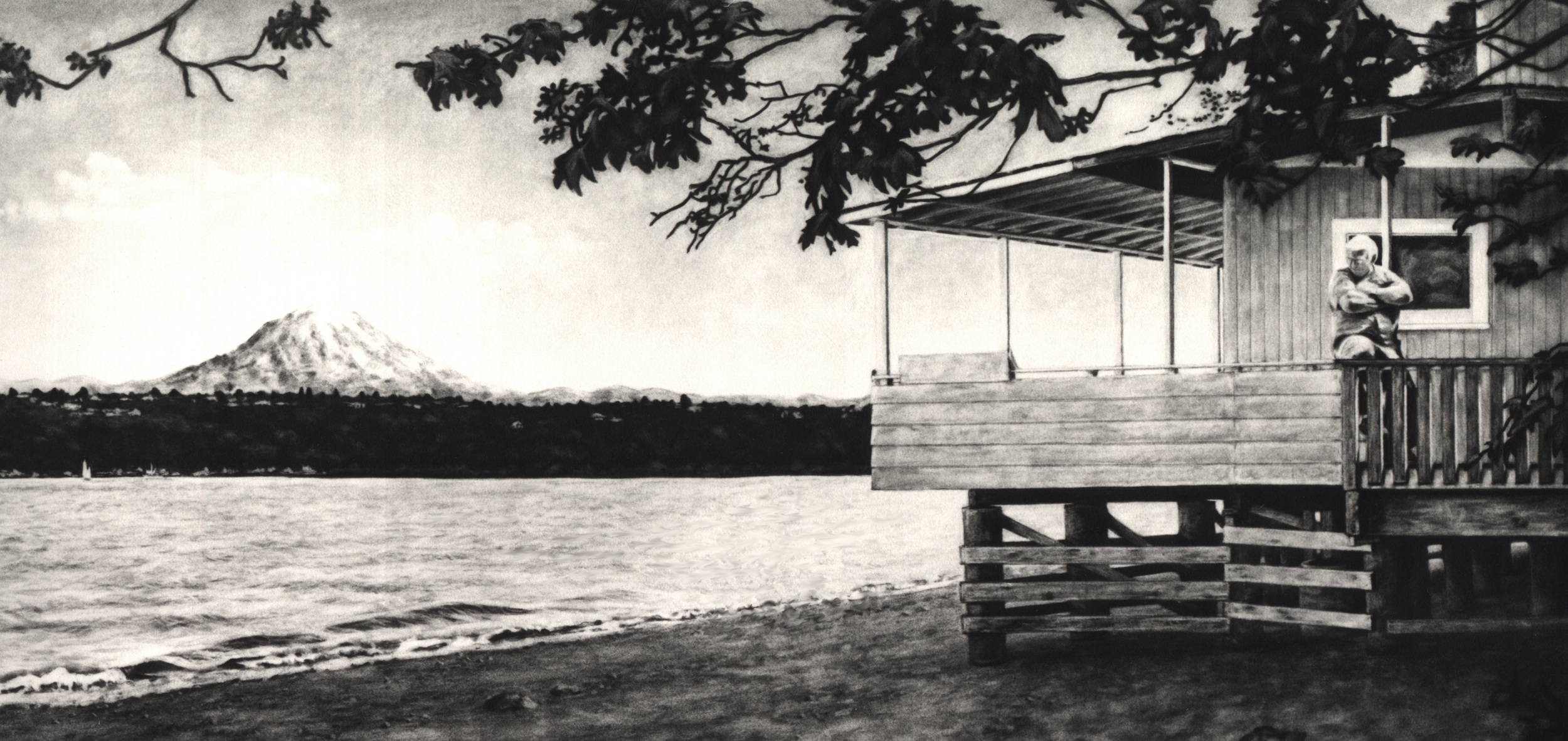 My Uncle built the end cabin just beyond the Nesika Beach Community of Gig Harbor in the 50s. My aunt, Lita, is barely visible in the window.