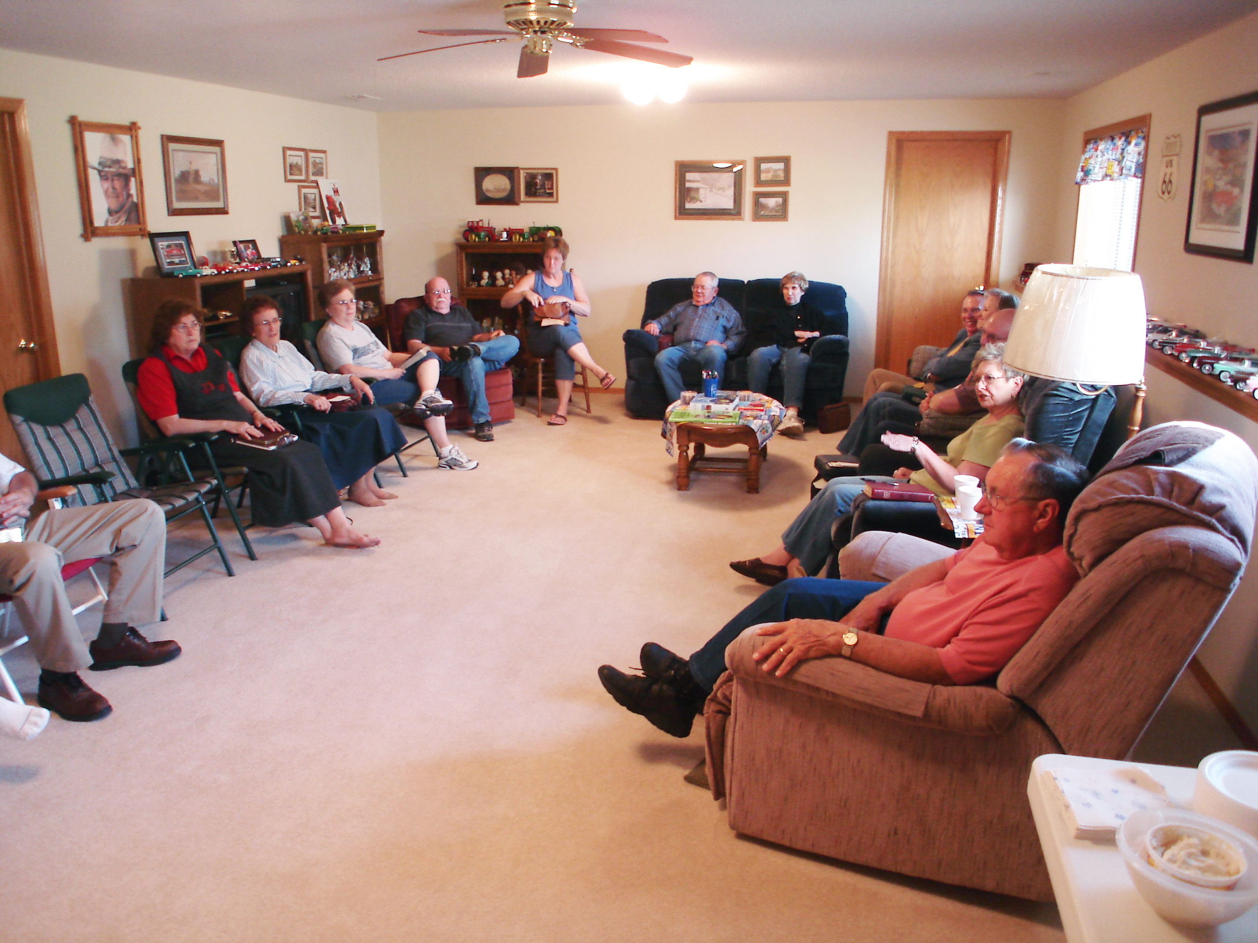 One of three mid-week services held in the homes of Wayne & Bertha Burrows in Bel Aire (pictured here), Larry & Wanda Decker in Clearwater,and Gary and Marlynn Dinsmore in Derby.