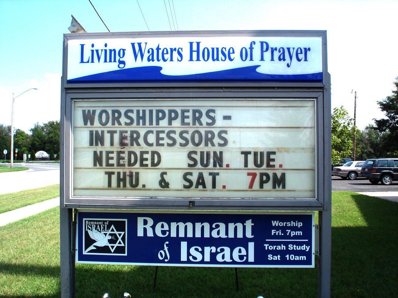 Original Owner's church sign.