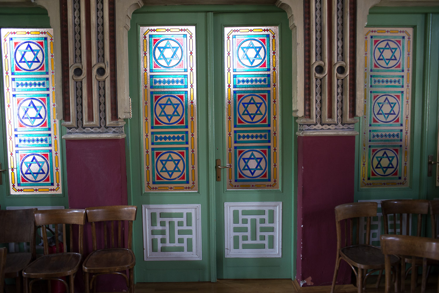 The Ashkenazi Synagogue in Sarajevo is entirely hand painted in traditional designs. The Synagogue holds services every Friday night except during the summer months when many congregation members are out of town.