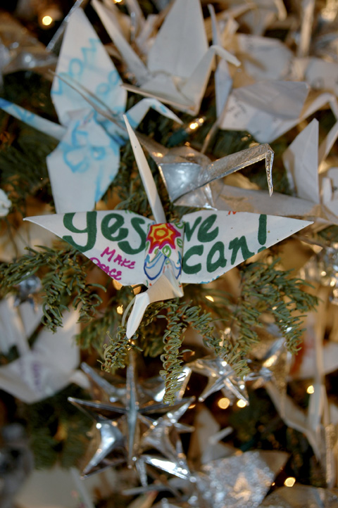 "A ""Yes We Can"" crane - one of the thousands of cranes on the tree."