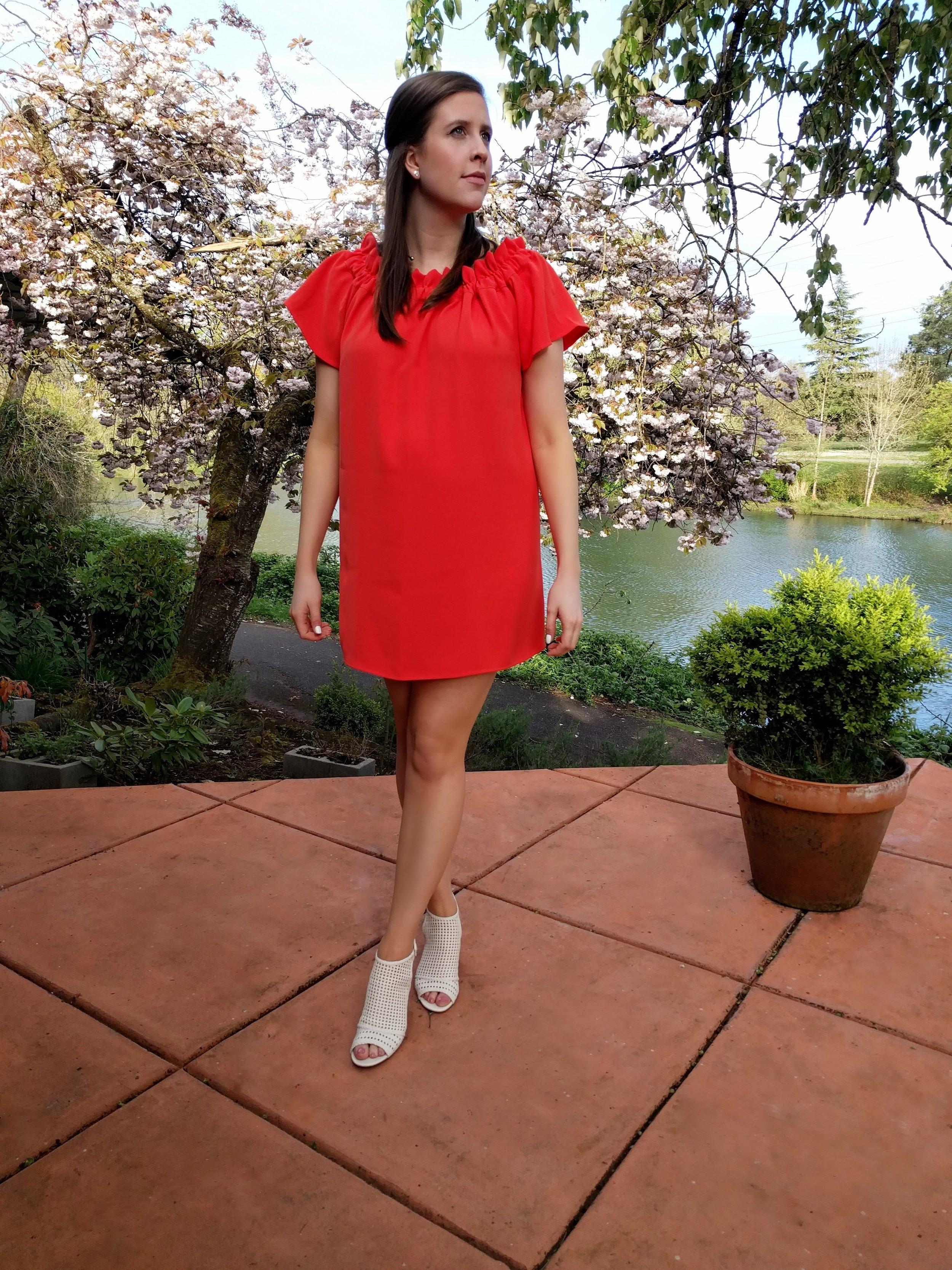 orange summer off the shoulder dress