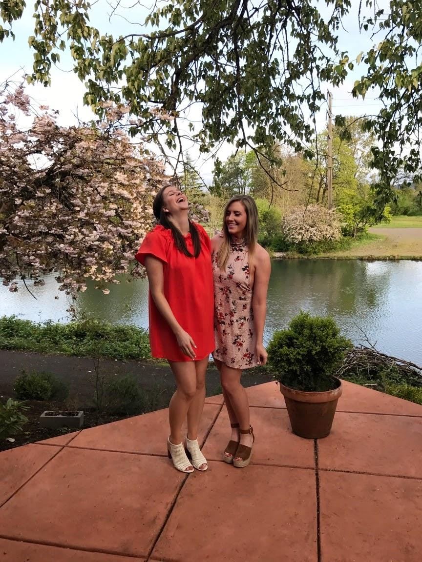 sister picture orange summer off the shoulder dress and floral summer dres