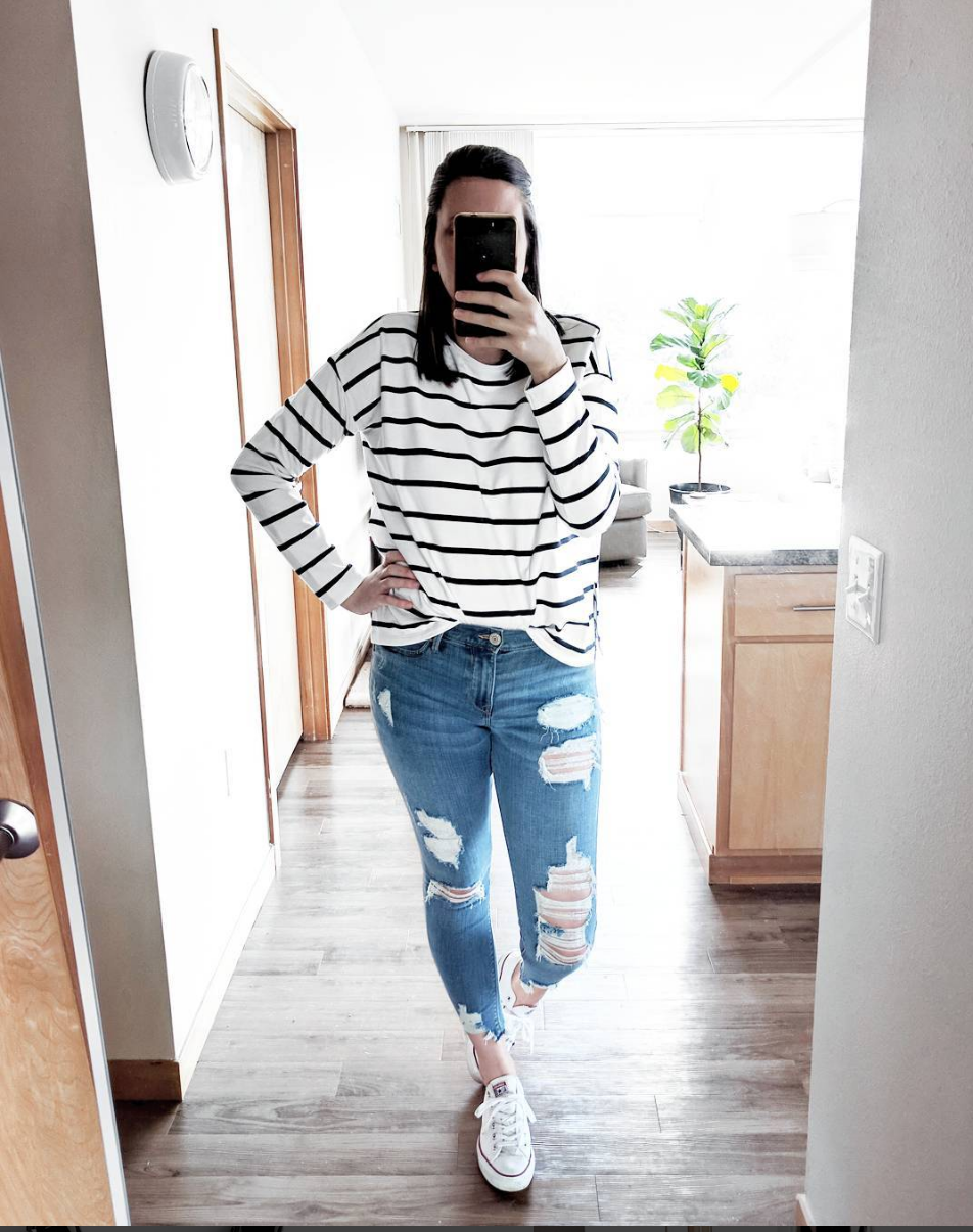 striped top and distressed jeggings