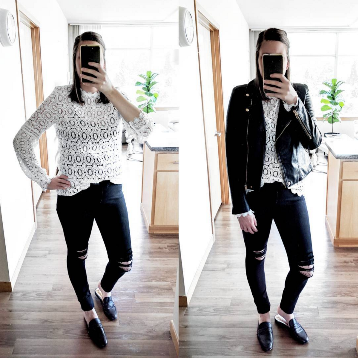 lace top distressed black jeans and leather jacket