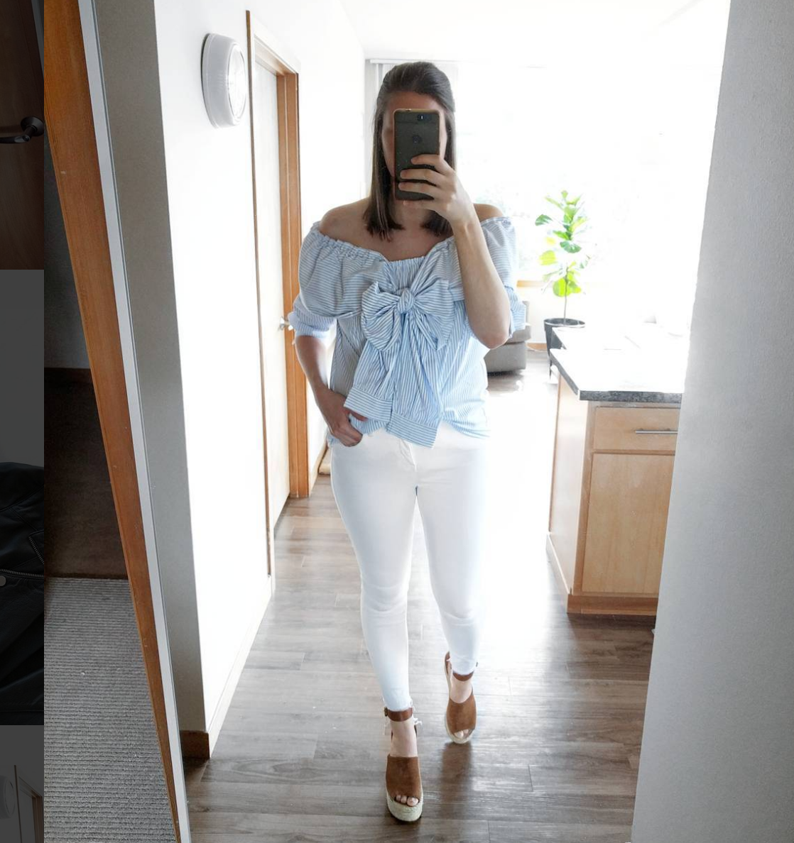 blue off the shoulder top, white jeans and marc fisher espadrilles