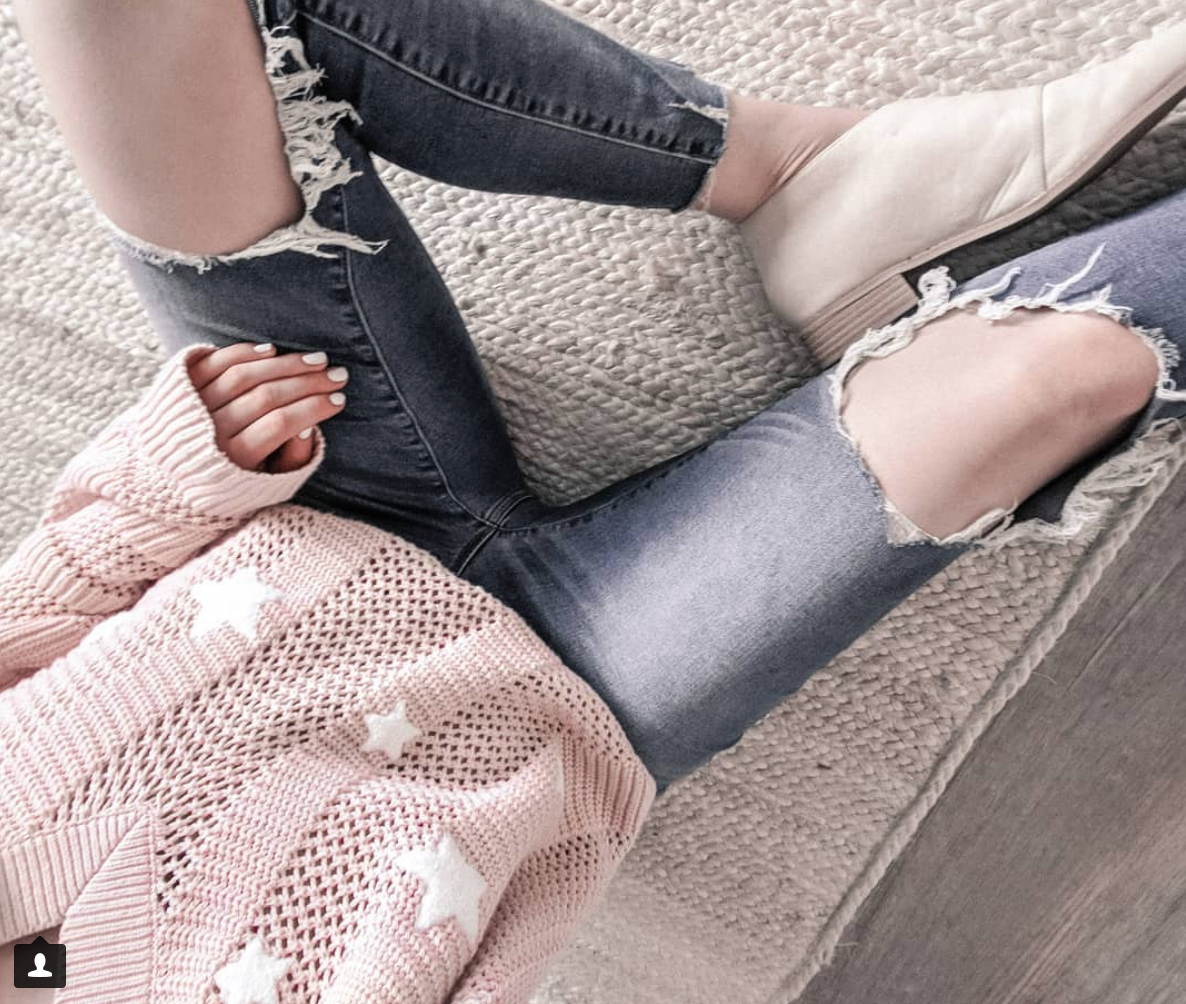 Blush Stars - Sweater: EXPRESS marked WAY down now! // Jeans: SIMILAR // Shoes: TARGET and SIMILAR
